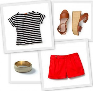 Clockwise from top left: Striped tee, sandals, shorts and bangle, Joe Fresh
