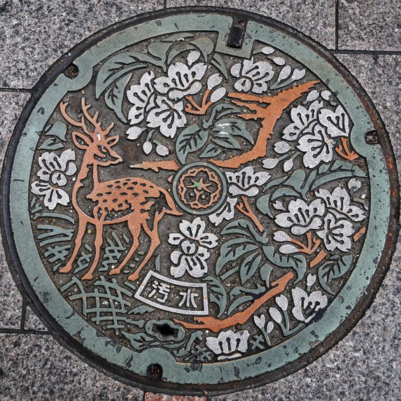 Photos of the beautiful manhole covers in japan slice